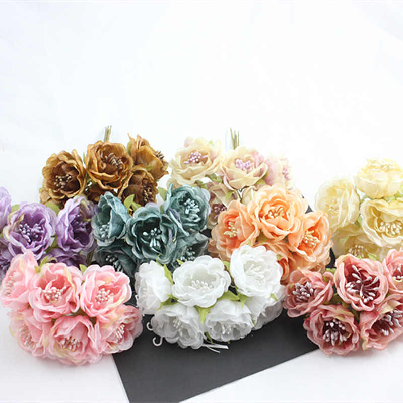 6pcs fake silk silk flower simulation rose flower rose bouquet handmade wedding gift box diy decorative bouquet