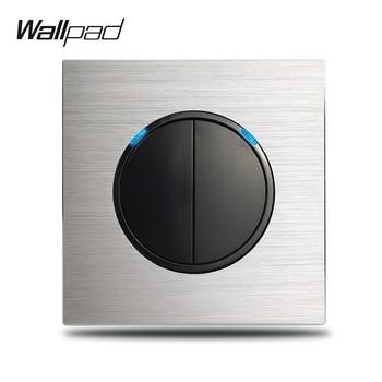 Wallpad gris L6 2 Gang interruptor de luz doble 1 Way 2 Way plata cepillada placa de aluminio Botón de retorno con indicador LED azul