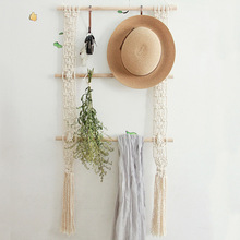 Macrame Wall Hanging Tapestry Rack Bohemian Hand-Woven Wooden Shelves Wall Tapestry Plant Stand Home Room Decoration Ornament