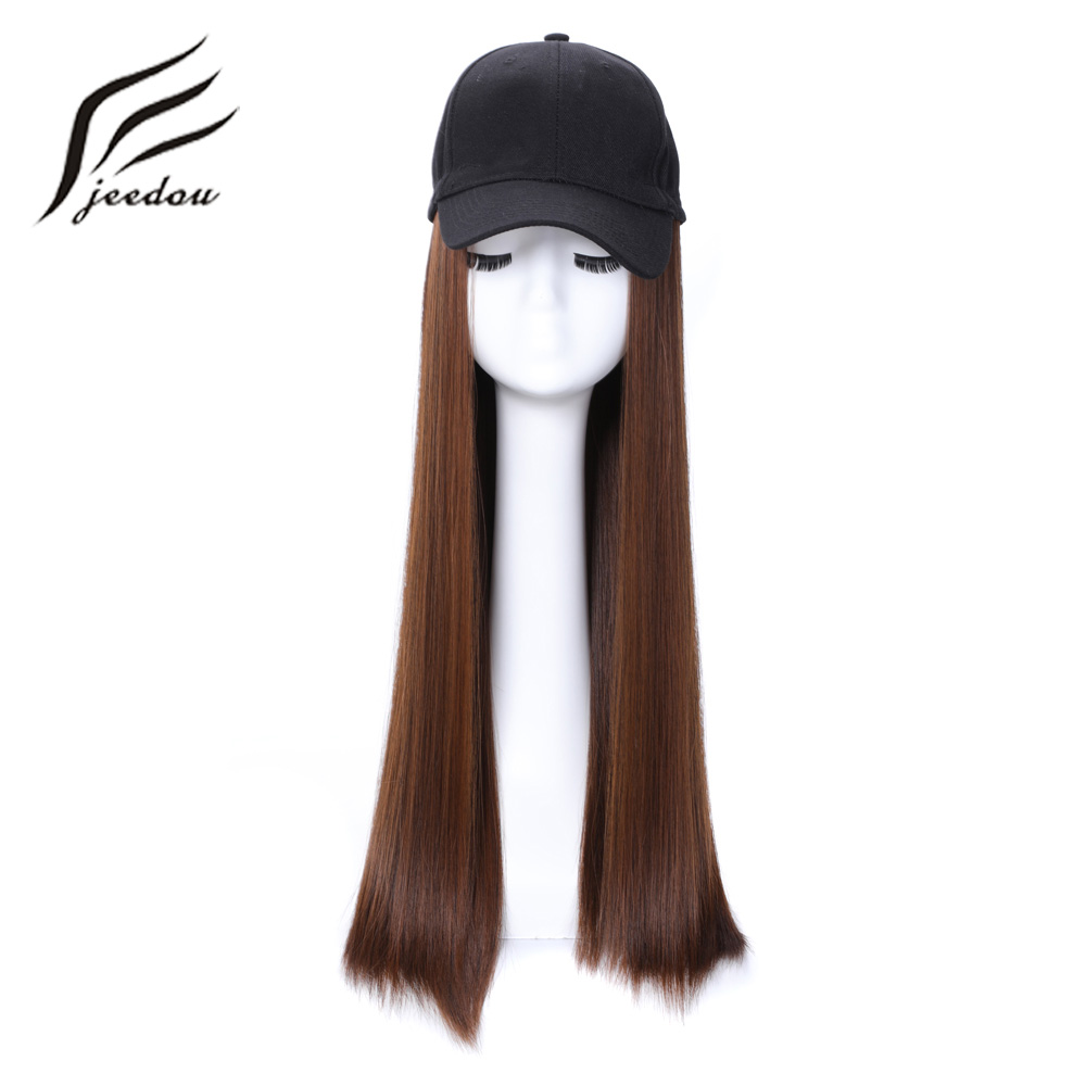 Jeedou Baseball Hat With Synthetic Hair Wig Black Brown Color Long Straight Hair Extension With Baseball Cap Black Hat For Women