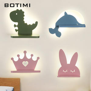 BOTIMI Cartoon LED Wall Lamp With Shelf For Kids' Bedroom Green Boys' Room Blue Green Bedside Lights Girls' Pink Wall Sconce