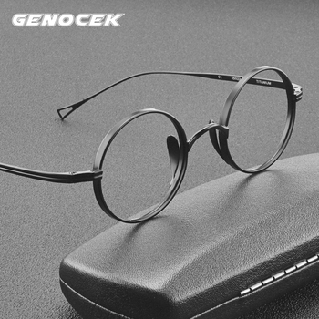 2021 Vintage Pure Titanium Glasses Frame Men Round Optical Myopia Prescription Eyeglasses Frame Women Luxury Brand Small Eyewear