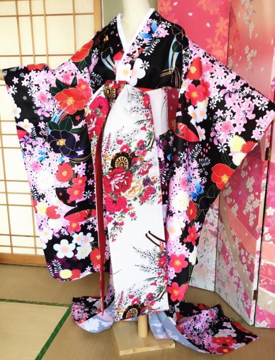 Original New Japanese Kimono Yukata Woman Stage Performance Coat Spring Summer Outer Garment+Waistband