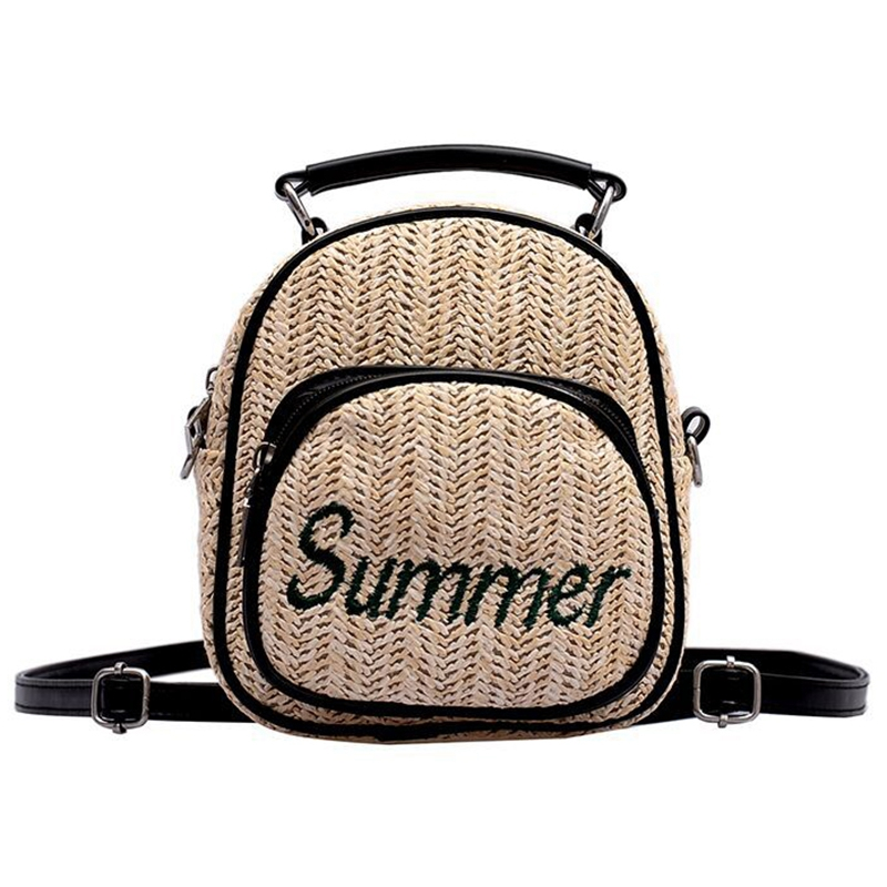 Women'S Straw Bucket Bag Summer Woven Shoulder Bags Shopping Purse Beach Handbag Straw Handbags Travel Bag Black