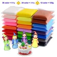 36 kolor lekka glina edukacyjne zabawki bezpieczne kolorowe powietrze suche plastelina polimerowa dzieci DIY owoce ciasto szlamowe światło miękka glina zabawka prezent