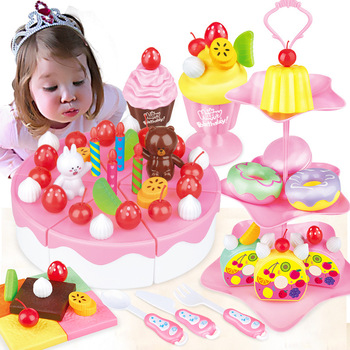 DIY Pretend Play Fruit Cutting Birthday Cake Combine vegetables in the kitchen Food Toys De Juguete Toy Pink Blue Girls Gift 38 80pcs diy pretend play fruit cutting birthday cake kitchen food toys cocina de juguete toy children girls christmas gift toys