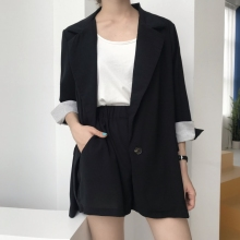 Shorts 2 Piece Set Women Black Striped Cuff Blazer Jacket Elastic Waist Shorts Notched Collar Single Button Elegant Fashion Suit