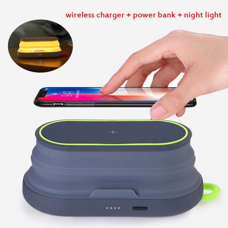 10W Fast Charging Wireless Charger + Power Bank 5000MAh + Lampu Malam + Mobile untuk Ponsel iPhone xiaomi Charger Telepon