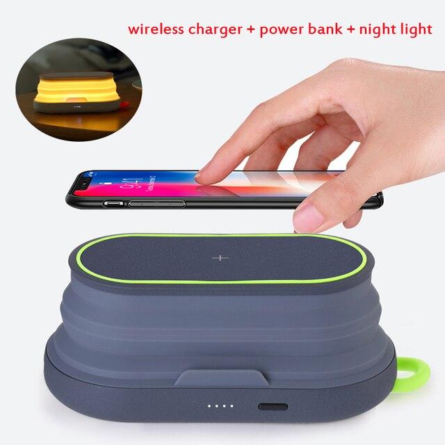 10W מהיר טעינה אלחוטי מטען + 5000mAh כוח בנק + לילה אור + נייד טלפון מחזיק עבור iPhone xiaomi טלפון מטען