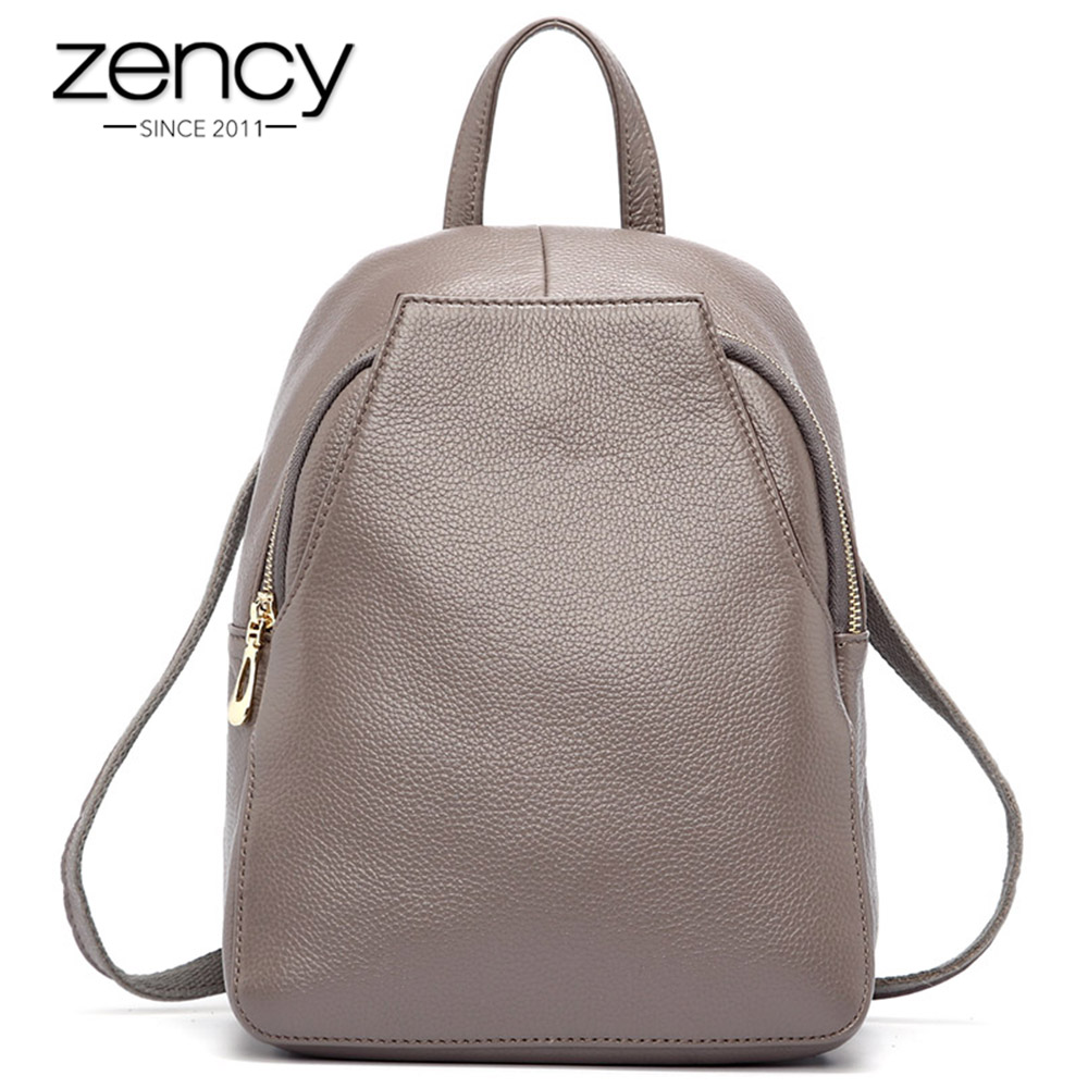 Zency Charm Women Backpack 100% Genuine Leather Anti-theft Button Elegant Female Travel Bags Schoolbag For Girl Holiday Knapsack