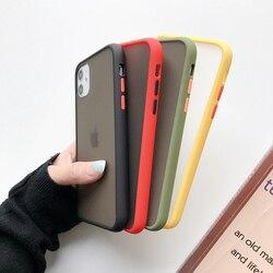 Mint híbrido simples fosco pára-choques caso de telefone para iphone 12 11pro max xr xs max 6s 8 7 plus silicone macio à prova de choque claro capa