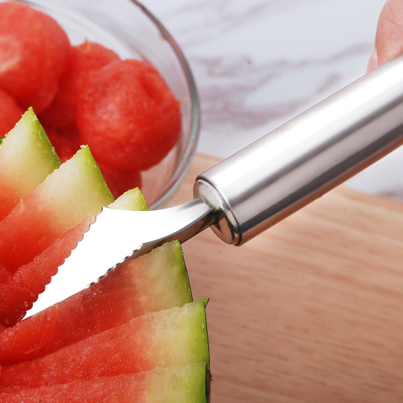 304 Stainless Steel Fruit Melon Baller Ice Cream Spoon Carving Knife Fruit-cuttng Device Creative Kitchen Gadgets Platter Tool