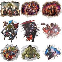 3D Wall Stickers Home Wall Decor Avengers Stickers for Kids Room Bedroom Decoration Marvel Poster Mural Wallpaper Wall Decals