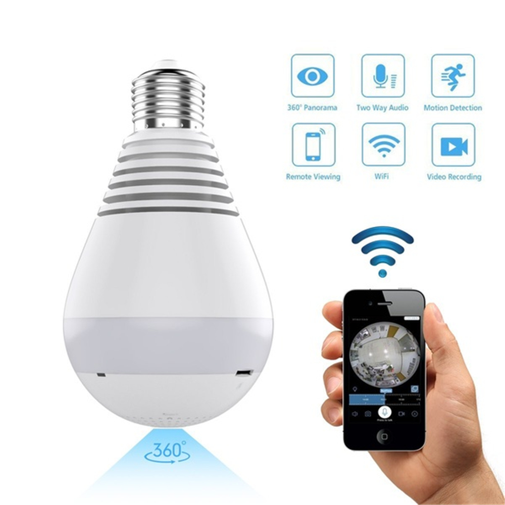 1080P HD WiFi <font><b>IP</b></font> Kamera 360 ° Panorama Fisheye Versteckte cam Lampe Licht Home Security Fisheye Birne Lampe Nacht vision Baby Monitor image