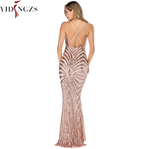 Image 2 - YIDINGZS  Mermaid Gold Sequins Evening Dress Straps Party Sexy Vestido De Festa Long Prom Gown YD19009