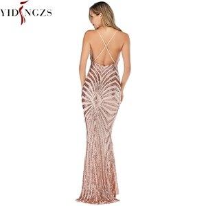 Image 2 - YIDINGZS robe De soirée style sirène, bretelles, en paillettes dorées, Sexy, robe longue De bal, YD19009