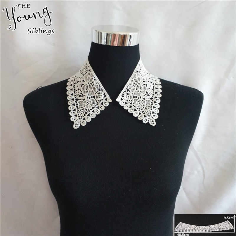 Fashion style White Embroidery Applique Lace Collar DIY Fabric Trim Lace Neckline Sewing Dresses decorate Accessories 1 pcs sale