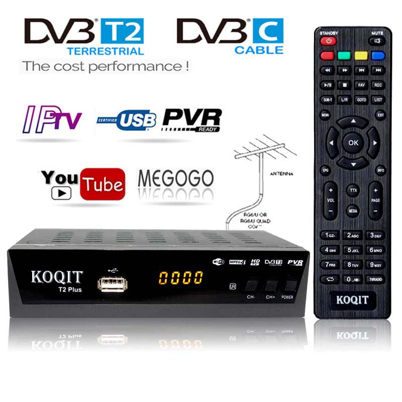 Free 1080p DVBC Cable Digital TV Box DvbT2 DVB-T2 Tuner DVB T2 TV Receiver IPTV M3u Line USB Dvb-C Wifi Youtube For VGA Monitor