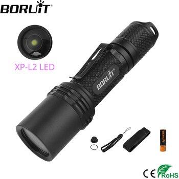 BORUiT BC07 XP-L2 LED linterna táctica 1300lm 5 modos Zoom antorcha 18650 recargable potente linterna LED a prueba de agua