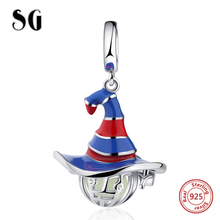 SG New arrival silver 925 witch hat Glowing Pendant Charm Fit Authentic pandora bracelet fashion DIY Jewelry for women Gifts