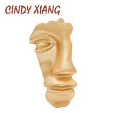 CINDY XIANG Gold Color Half Face Mask Brooch Large Fashion Coat Brooches For Women New Design Autumn Winter Alloy Accessories(China)