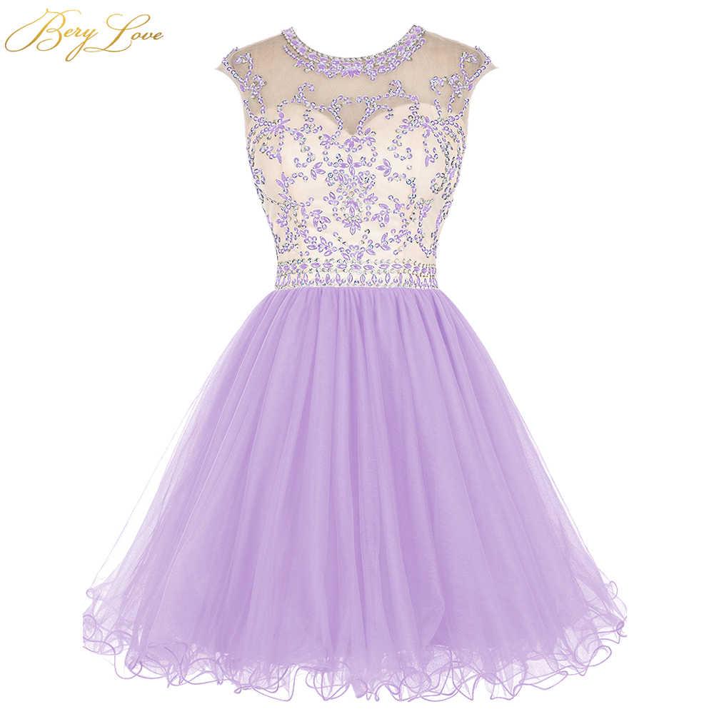 BeryLove/ярко-Синее Короткое платье для выпускного вечера, 2020 лиф со стразами, юбка с оборками, цветное короткое платье для девочек, платье для выпускного вечера