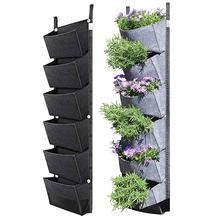 107X30cm 6 bolsillo verde plantador de jardín Vertical montado en la pared plantar flores bolsa de crecer vegetales fruta para jardín doméstico suministros