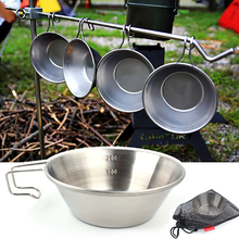 Outdoor 304 Stainless Steel Bowl Camping Fixed Handle Picnic Mountaineering Water Cup Travel Barbecue Portable Tableware