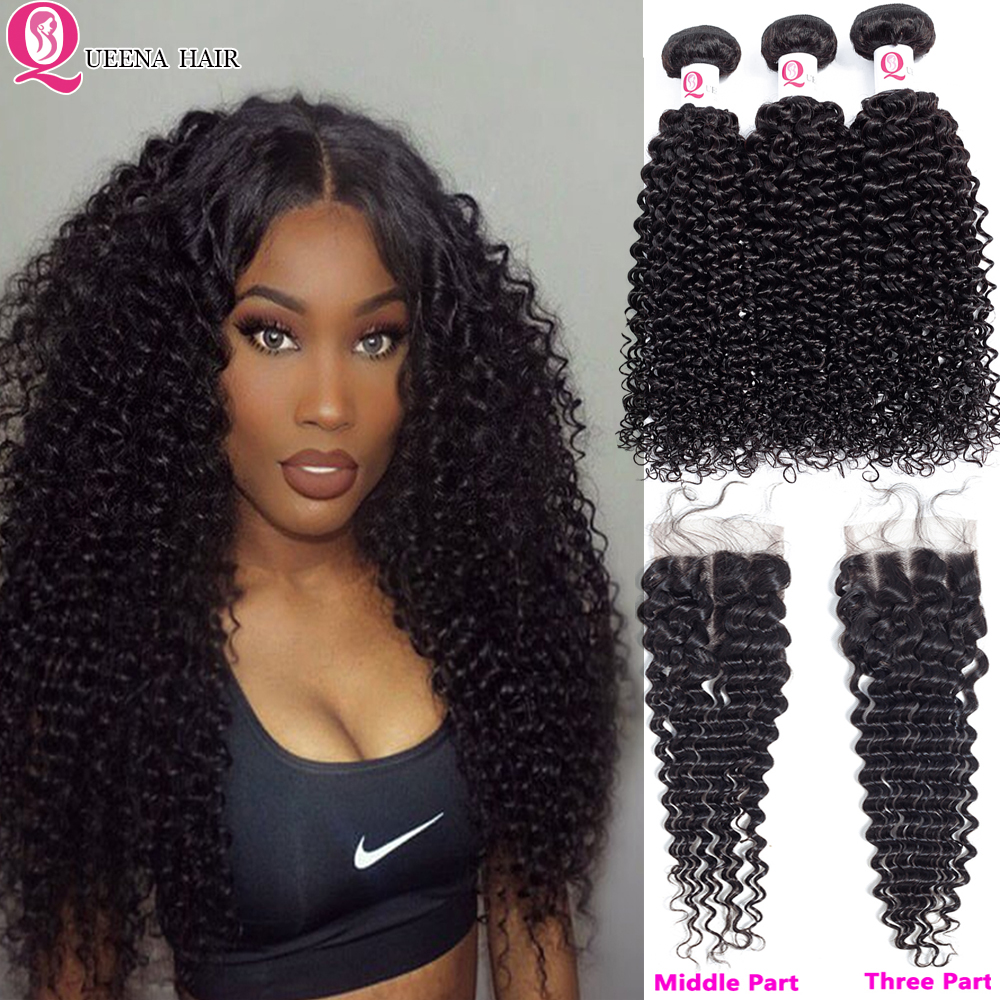 Raw Indian Kinky Curly Bundles With Closure Curly Human Hair Bundles And Closure 4*4 With Baby Hair 3 Bundles With Closure Remy