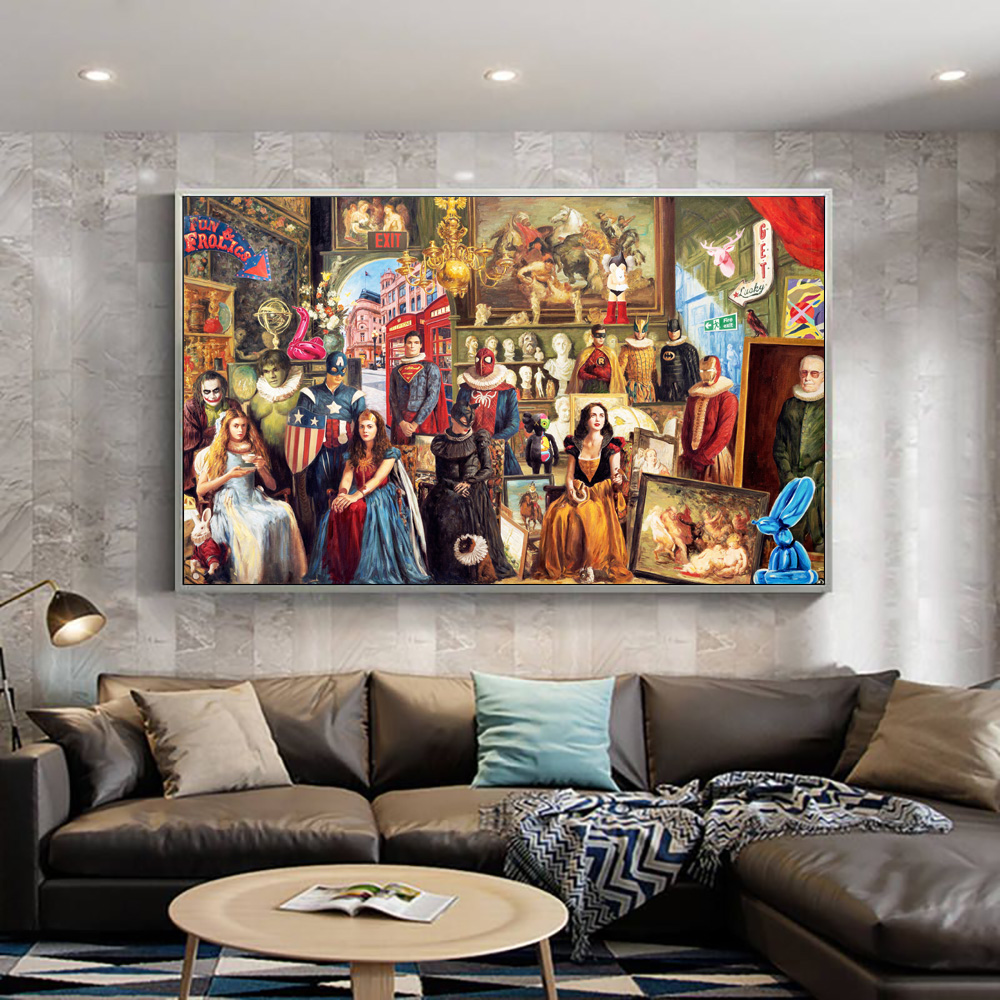 European Classic Dress Superheroes Carnival Retro Oil Painting On Canvas Art Print Batman And Spiderman Picture Wall Poster image