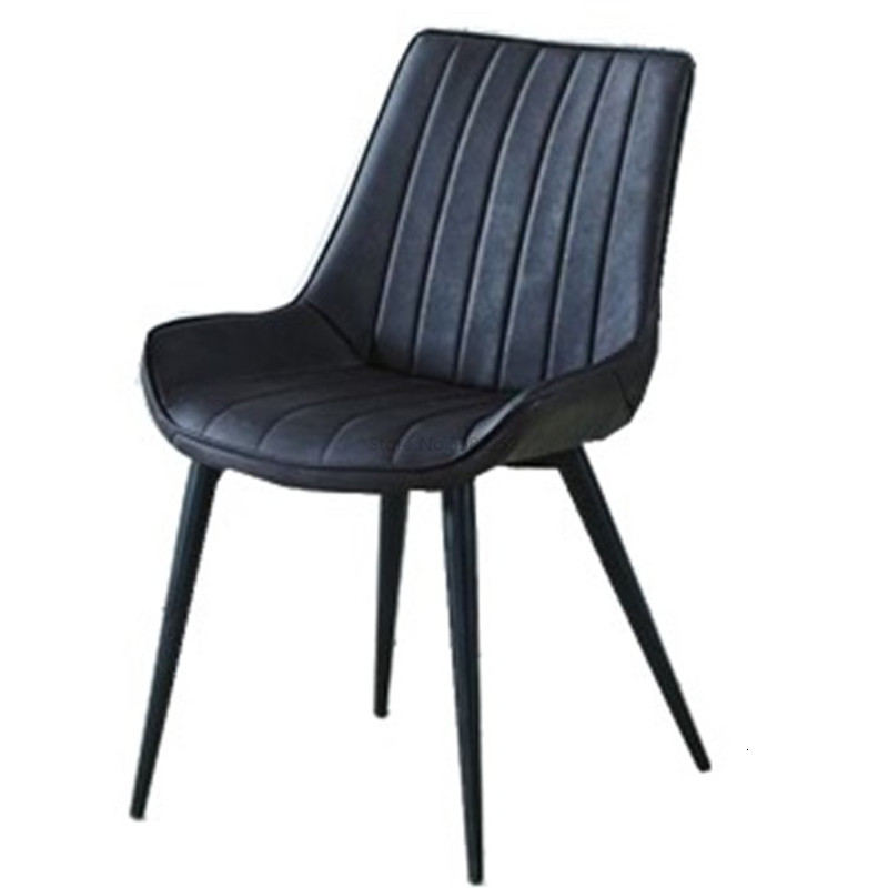 Household Dining Chair Northern Europe Concise Hotel Dining Chair Industry Iron Wind Pu Leather Dining Chair Stool Chair