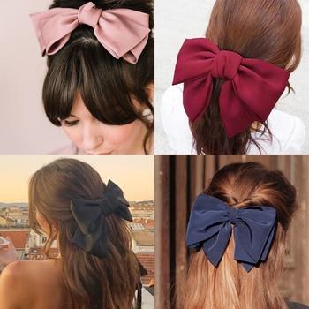 17KM Fashion Big Bow Hairpin Cute Red Barrette Pink Hair Clip Women Girls BB Hairgrip Korean Oversize Floral Hair Accessories