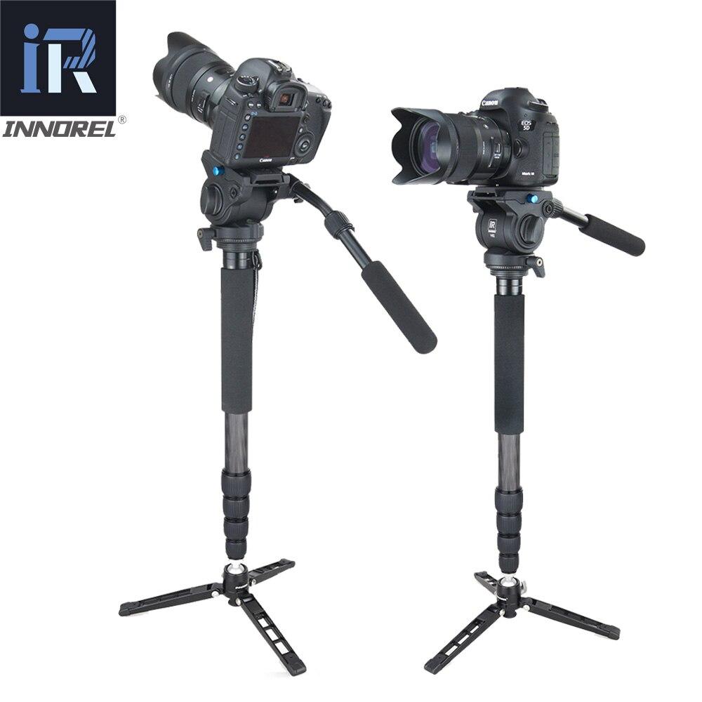 RM60CK video profesional Monopod Kit de fibra de carbono telescópico Monopod para cámara DSLR Gopro con Base de trípode de mesa de cabeza fluida - 2