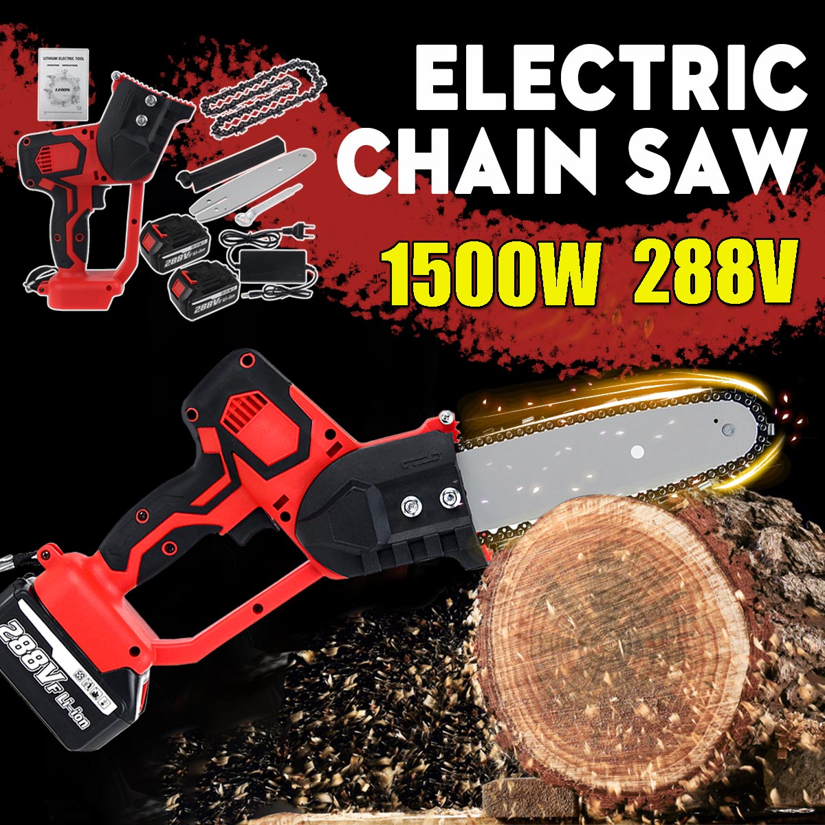 Electric Saw Chainsaw 8 inch 288V 1500W Rechargeable Woodworking Power Tool with 2 Batteries Brushless Motor Wood Cutter Kit