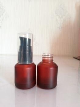 15ml rose amber glass bottle with black lotion/sprayer pump for lotion/emulsion/foundation/serum/mist sprayer/toner packing