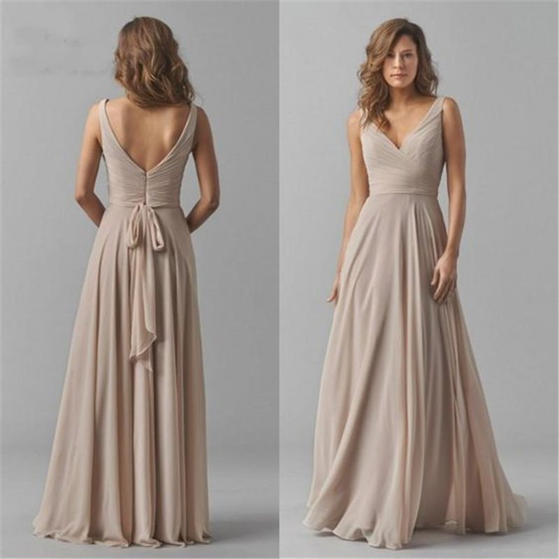 Vintage Chiffon Bridesmaid Dresses V-Neck Wedding Party Dress Pleat Sleeveless Maid Of Honor Gowns For Women