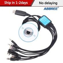 Abbree 8 w 1 kabel do programowania USB dla Baofeng UV5R UV82 888S dla TYT Kenwood Motorola Yaesu Icom HYT Walkie Talkie Radio samochodowe