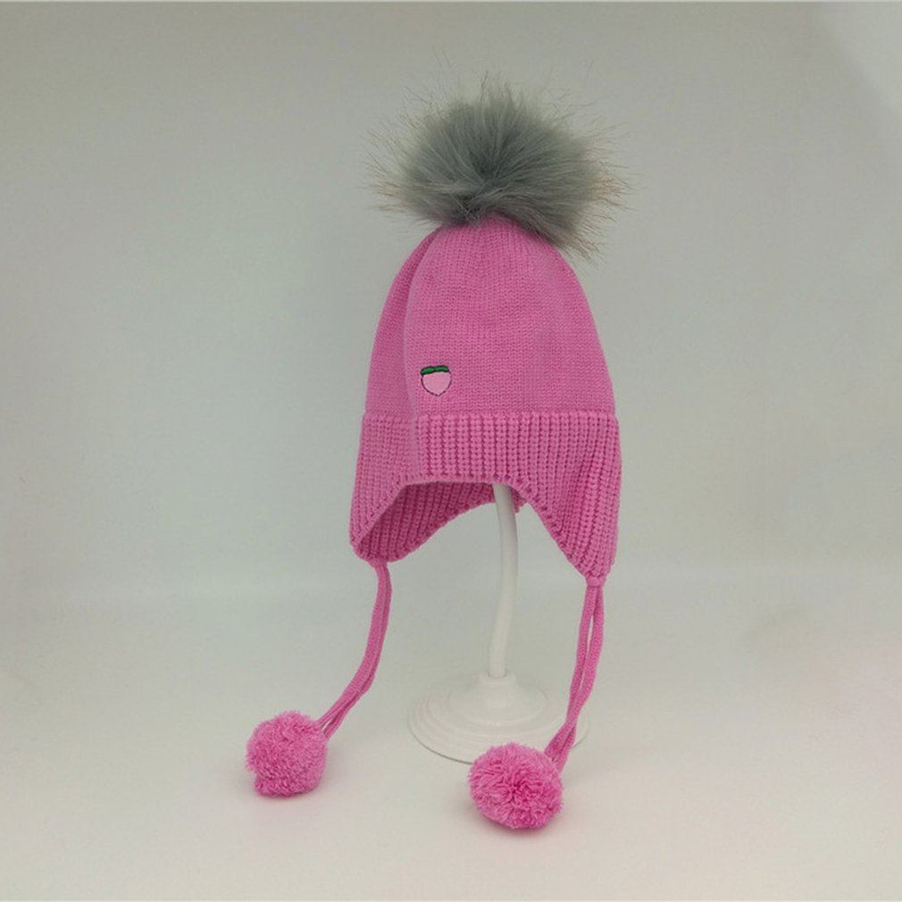 Baby Hat Russian fur Winter hand made crochet Warm Beanie Cap Girl 0-3