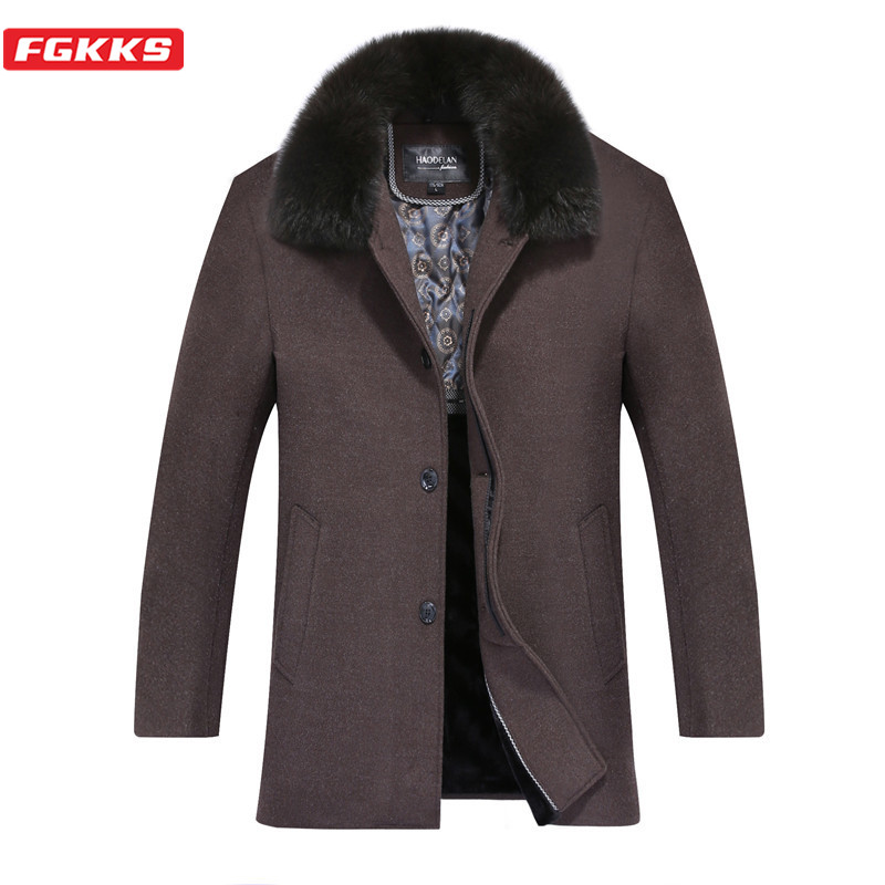 FGKKS Men Wool Blend Coats Winter New Men's High Quality Casual Overcoat Male Fur Collar Solid Color Wool Coat Brand Clothing