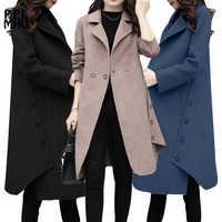 Abrigo de invierno para mujer amplio cinturón de solapa de lana mezcla abrigo tamaño largo gabardina abrigo de lana para mujer