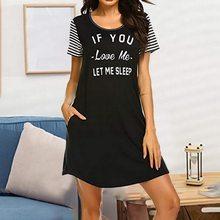Camisón a rayas de manga corta para mujer, ropa de Dormir de talla grande, S-2XL