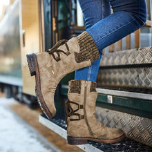 Buty damskie ciepłe buty skórzane buty śniegowe kobiece buty zimowe buty damskie do połowy łydki platformy botki Zapatos De Mujer tanie tanio Leemeimei Pasuje prawda na wymiar weź swój normalny rozmiar Okrągły nosek Zima Patchwork Plac heel Buty śniegu RUBBER