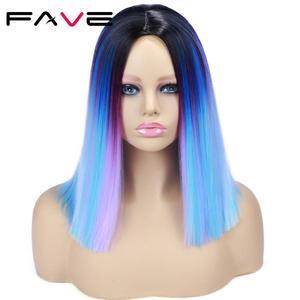 Image 5 - Женский короткий парик из синтетических волос FAVE Ombre, синий, фиолетовый, Радужный цвет, прямые волосы средней длины, Термостойкое волокно для косплея