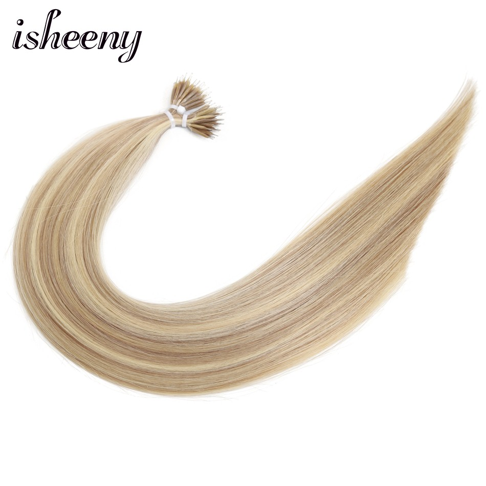 Isheeny Straight P18/613# Micro Beads Cuticle Remy Nano Ring Links Human Hair Extensions 14