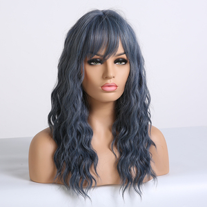 Image 4 - アランイートンミディアム波状合成ダークブルー黒人女性耐熱ナチュラルコスプレヘアウィッグサイド前髪