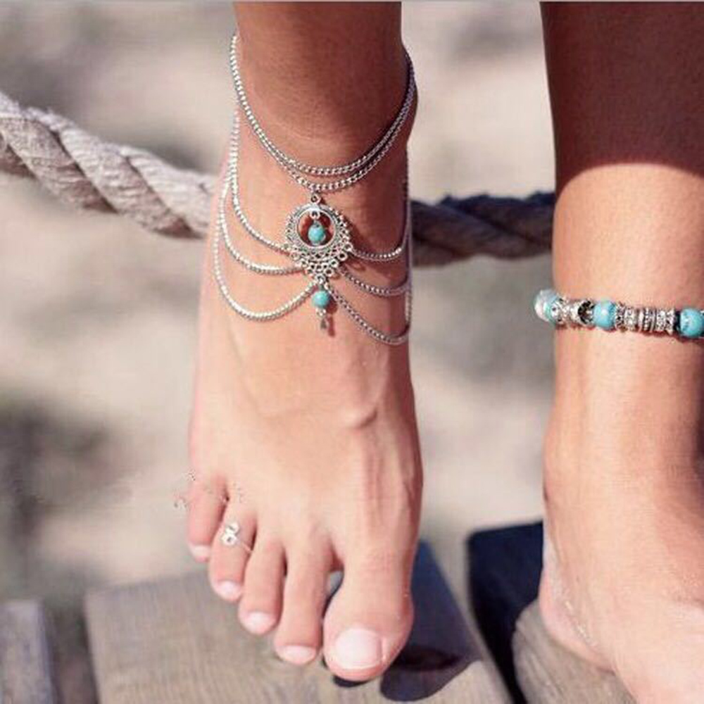 Boho Retro Ethnic Style Hollow Turquoise Water Drop Beach Anklet For Women Handmade Foot Jewelry Bracelet