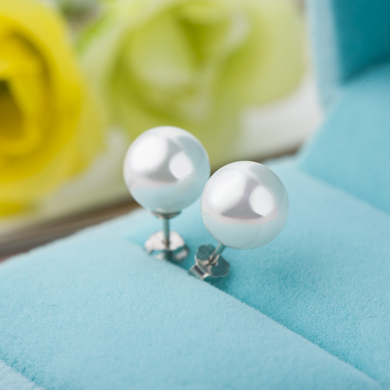 DR High Quality Pinks Pearl Silver 925 Stud Earrings Fine Jewelry 6MM White Shell Pearls S925 Earrings for Women Drop shipping