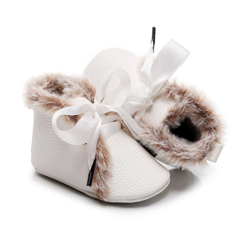 Baby Girl First Walkers Baby PU High-tops Sneaker Anti-slip With Velvet Winter Warm Toddler Infant Crib Shoes Bownot Tie Shoes P