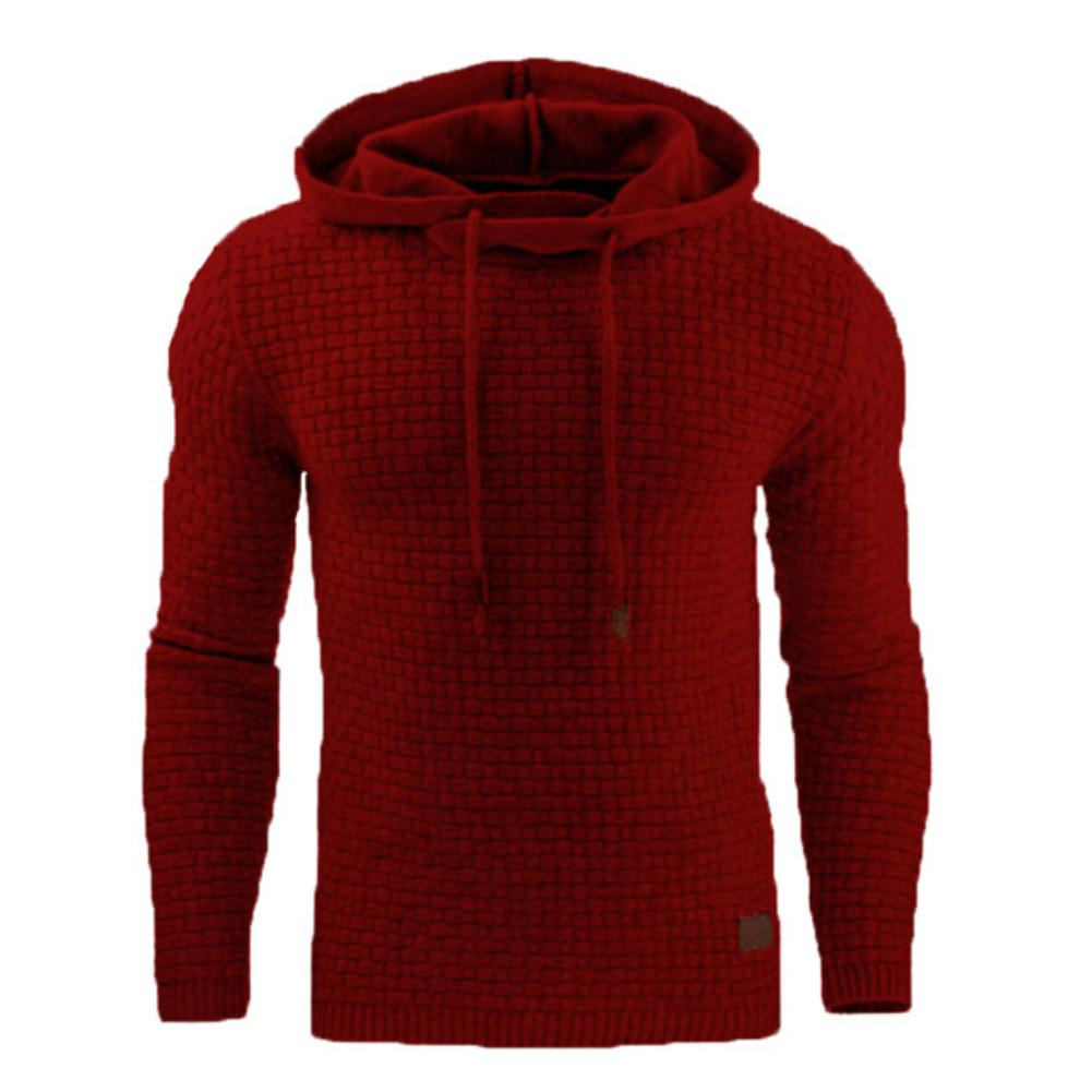Men Casual Solid Color Long Sleeve Jacquard Drawstring Loose Plus Size Hoodie Sports And Leisure Pullover Coat Xmas Gift