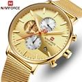 Luxus Marke NAVIFORCE Männer Uhr Mode Quarz Uhren Edelstahl Chronograph Armbanduhr Mann Wasserdichte Analogen Männlichen Uhr-in Quarz-Uhren aus Uhren bei